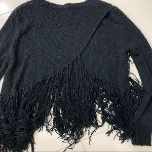 Fate by LFD Fringe Crop Black Sweater - Medium